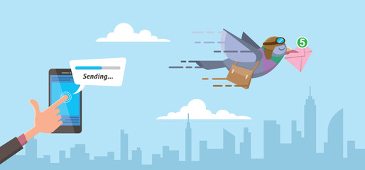 businessman sending email using smartphone on progress status pigeon courier with city skyline background flat vector illustration