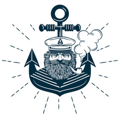 Monochrome nautical marine image captain with anchor on background..Logo of captain with anchor on background isolated vector illustration