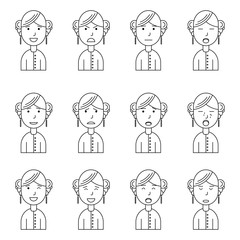 Girl face expressions, set collection