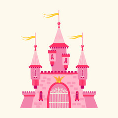Illustration with a castle in a cartoon style. Fairytale Princess Residence