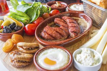 Turkish breakfast with sausage
