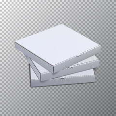 Vector pizza boxes for mock up template isolated on transparent background.