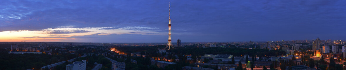 Kyiv evening panoramic view with TV tower