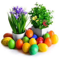 Easter eggs with flowers and butterflies