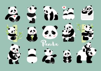 Set of Panda figures, isolated vector illustration