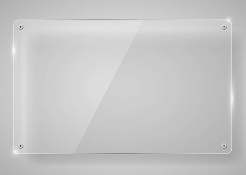 Realistic horizontal transparent glass frame with shadow. Modern background.