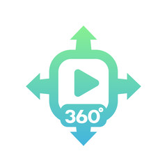360 degrees video vector icon on white