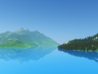3D hills and trees with still blue water