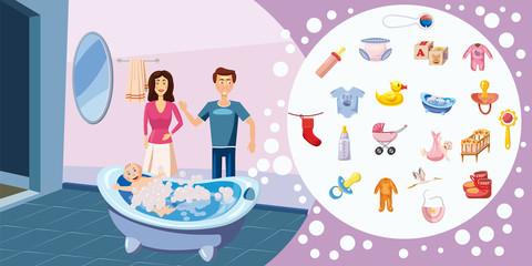 Family horizontal banner wash, cartoon style