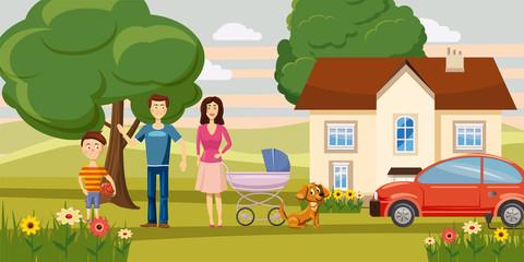 Family horizontal banner garden, cartoon style
