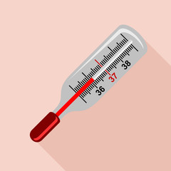 Medical mercury thermometer icon, flat style