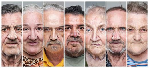 Closeup portrait collage of elderly men and women
