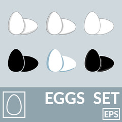 Vector set of eggs. Isolated, painted in different styles. Flat style, contour, black, colored, strokes. For labels and other things.