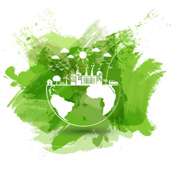 Green city of the world, Eco friendly concept with green watercolor paint background