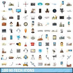 100 hi-tech icons set, cartoon style