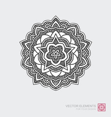 Floral abstract ornament of round shape. Mandala, graphic elements are drawn by hand. Modernistic Minimalist Art.