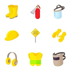 Road construction repair icons set, cartoon style