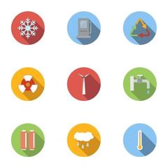 Production of energy icons set, flat style