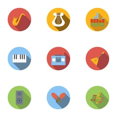 Device for music icons set, flat style