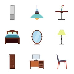 Home furniture icons set, flat style