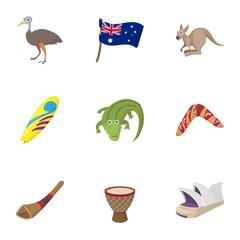 Country Australia icons set, cartoon style