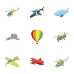 Flying vehicles icons set, cartoon style