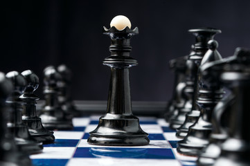 chess king among his black pieces