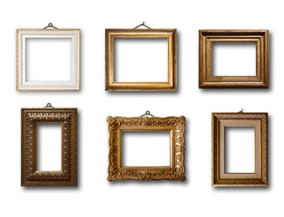 Set of picture gold wooden frame on isolated background