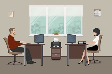 Web banner of two office workers. The young woman and man are an employees at work. There is furniture in brown color on a windows background in the picture. Vector flat illustration
