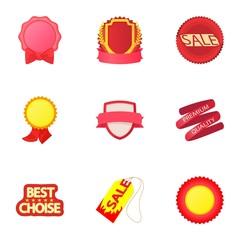 Badge icons set, cartoon style