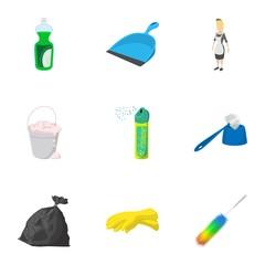 Sanitary day icons set, cartoon style