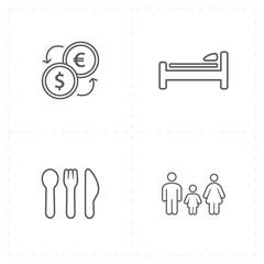 four flat travel company icons