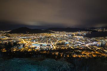 Beautiful Bergen view in Norway, March 2017