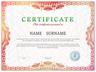 Certificate template with guilloche elements. Red diploma border design for personal conferment. Vector illustration for award, patent, validation, license, education, authentication, achievement, etc