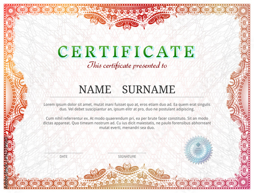 Certificate template with guilloche elements red diploma border certificate template with guilloche elements red diploma border design for personal conferment vector illustration yadclub Images