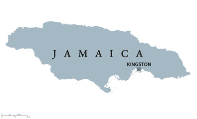 Jamaica political map with capital Kingston. Country in the Caribbean Sea and third-largest island of the Greater Antilles. Gray illustration isolated on white background. English labeling. Vector.