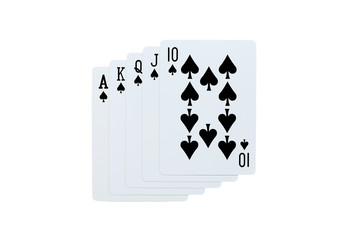Poker spades of 10 J Q K A playing cards isolated on white background