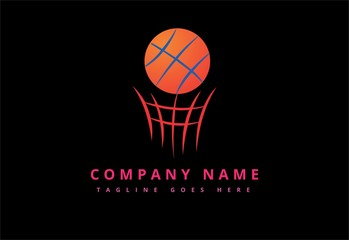 Basketball ball in ring emblem logo