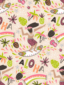 Seamless vector pattern with surfer and ornamental phrase - ALOHA - on the pink background. Seamless bright tropical design.