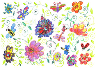Child's drawing bees and flowers