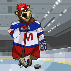 cartoon character bear dressed in clothes hockey player with stick and puck