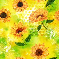 Seamless pattern with watercolor sunflowers on yellow-green