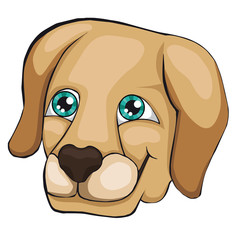 The head of the labrador retriever. Cartoon style.