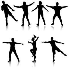 Black set silhouettes Dancing on white background. Vector illustration