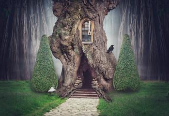 Fairy tree house in fantasy dark forest