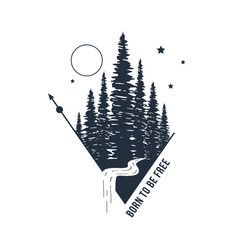 "Hand drawn inspirational badge with textured forest vector illustration and ""Born to be free"" lettering."