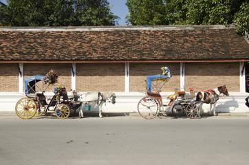Horses drawn carriage waiting travelers people use service tour around city at Wat Phra That Lampang Luang