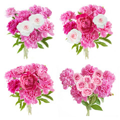 Peony and roses bunch in vase set isolated on white background