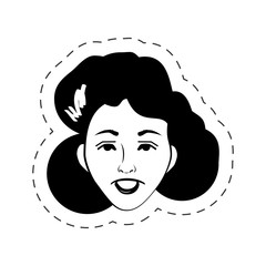 face woman female black and white vector illustration eps 10