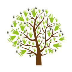 color background of tree with leaves in shape of hands vector illustration